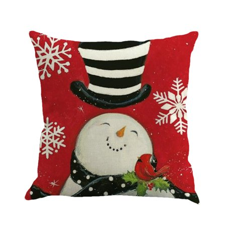 Hot Sale Merry Christmas Home Shops Sofa Bed Car Seat Dyeing Snowman Printed Square Pillow Case Decorative Cushion Cover Xmas Home Festival Decoration