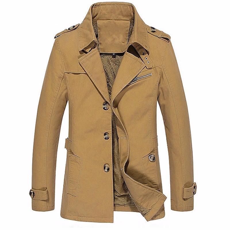PODOM Men Coat & Jackets Winter Warm Fleece Single Breast...