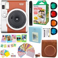 Fujifilm Instax Mini 90 Neo Classic Instant Film Camera (Brown) + Fuji Instax Film Twin Pack (20PK) + Accessories Kit / Bundle + Fitted Case + 4 Filter Lens + Frames + Photo Album + MORE