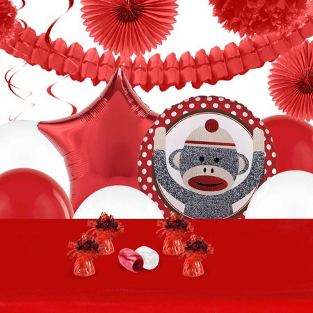 Sock Monkey Red Decoration Kit