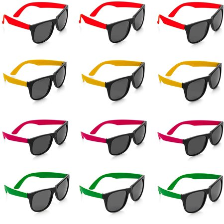 Neon Sunglasses - 12 Pack Green, Orange, Yellow And Pink, Gift, Party Favors, Toys, Goody Bag Favors, Fun For Kids - By Kidsco (Dark Light Party)