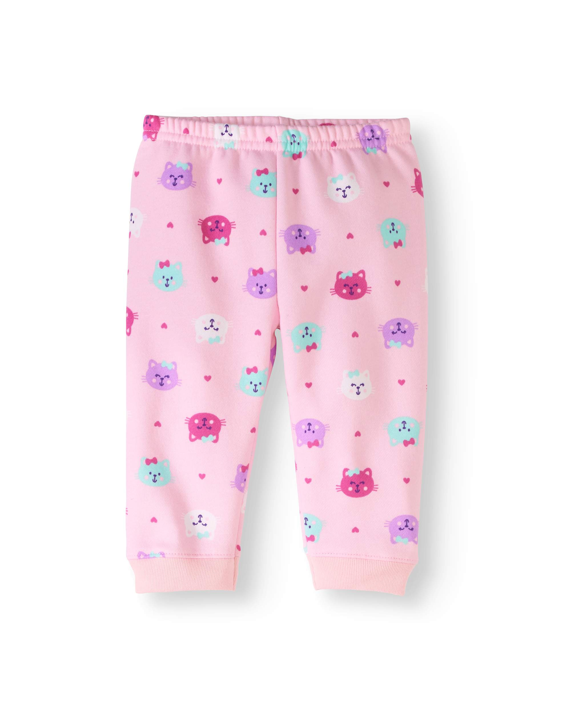 Newborn Baby Girls' Print Fleece Cuff Pants