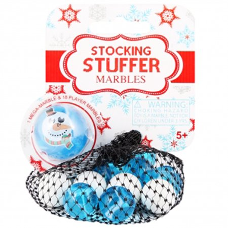 Mega Marbles Stocking Stuffer Marbles - 1 Character Shooter - 18 Marbles 14MM (Snowman)