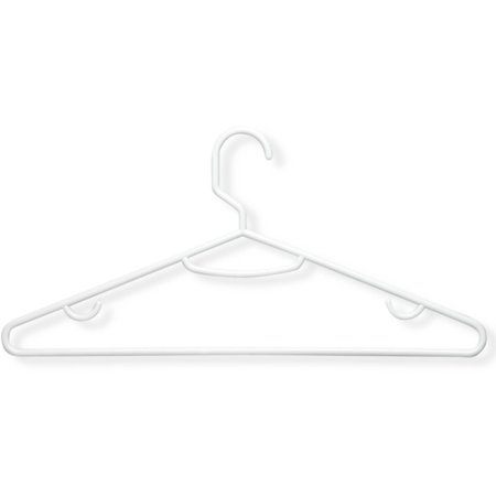 Honey Can Do Plastic Hangers with Large Rod Hook, White (Pack of 60)