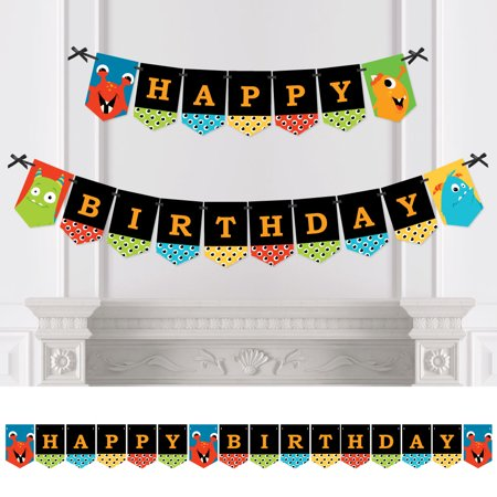 Monster Bash - Little Monster Birthday Party Bunting Banner - Blue Party Decorations - Happy Birthday
