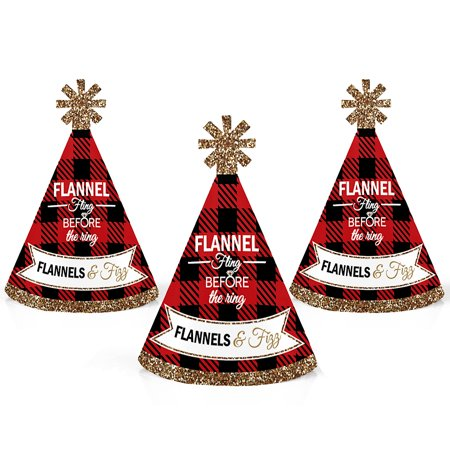 Flannel Fling Before The Ring - Mini Cone Buffalo Plaid Bachelorette Party Hats - Small Little Party Hats - Set of 10