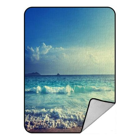 PHFZK Ocean Wave Blanket, Seychelles Beach in Sunset Time, Navy Blue White Fleece Blanket Crystal Velvet Front and Lambswool Sherpa Fleece Back Throw Blanket 58x80inches