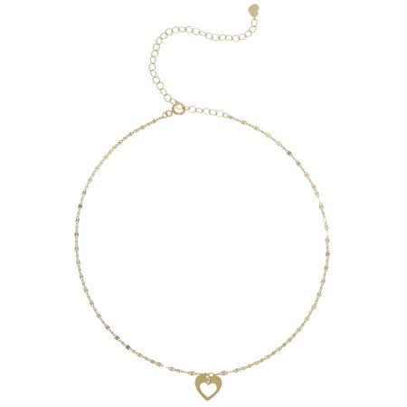 10 Karat Yellow Gold Open Heart Choker Necklace, 12