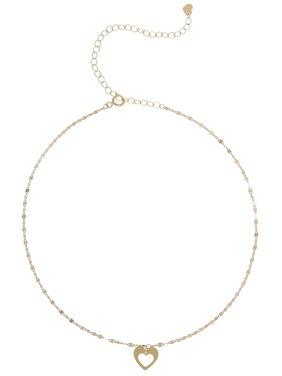 """10 Karat Yellow Gold Open Heart Choker Necklace, 12"""" + 4"""""""