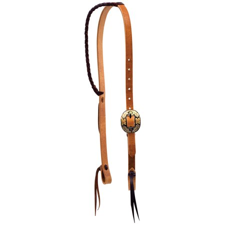 - Wildfire Saddlery   3/4 Twisted Tied Braided Ear Headstall With Silver Texas Buckle