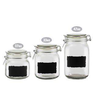 Chalkboard Label Gl Jar Canister Set Of 3 Quality Clear Round Reusable With Air