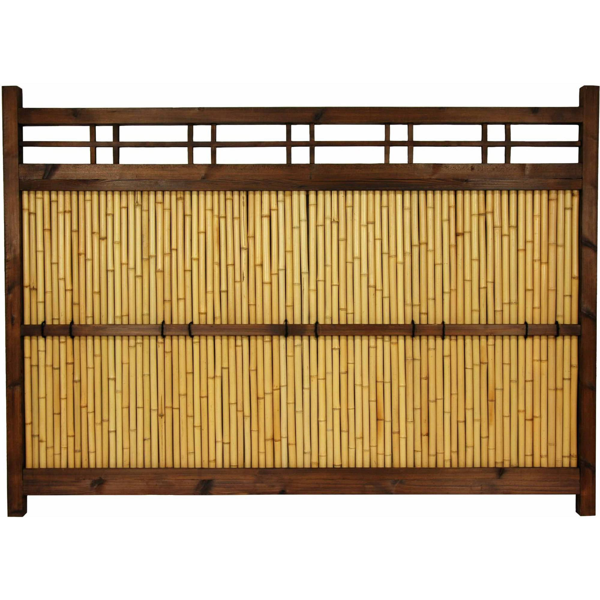 4' x 5-1 2' Japanese Bamboo Kumo Fence (B) by Oriental Furniture