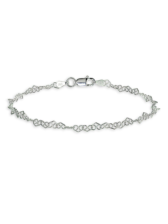 Heart Filigree Sterling Silver Chain Bracelet