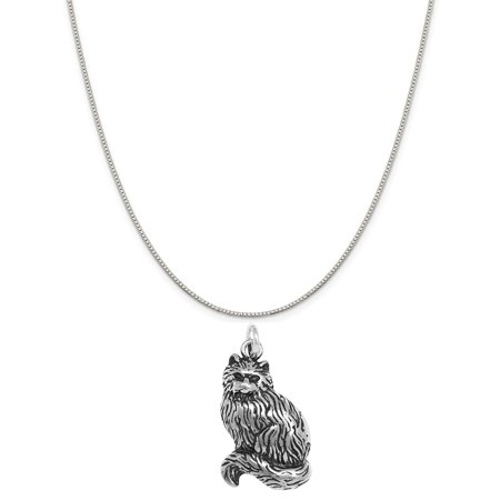 Sterling Silver Tabby Cat Charm on a Sterling Silver 20 Box Chain