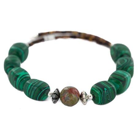 Certified Authentic Navajo Heishi Malachite Blood Stone Native American Adjustable Wrap Bracelet