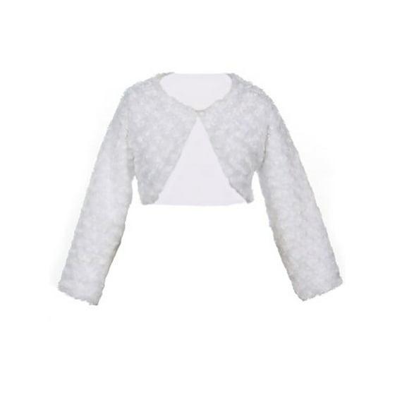 99f2a71ae Sweet Kids - Girl s Faux Fur Long Sleeve Bolero Jacket Shrug - White ...
