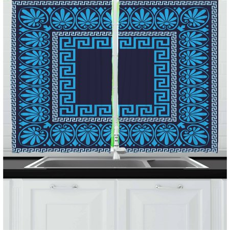 Greek Key Curtains 2 Panels Set, Grecian Meandros Pattern with Intricate Lines Floral Figures in Blue Shades, Window Drapes for Living Room Bedroom, 55W X 39L Inches, Blue Dark Blue, by Ambesonne