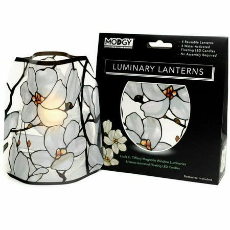 Modgy Lumizu Collapsible 4pc Luminary Lantern Set - Tiffany Magnolia Window](Luminary Supplies)