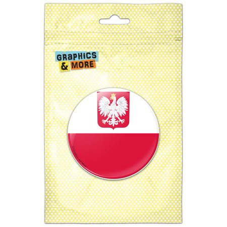 Poland With Coat of Arms National Country Flag Refrigerator Button Magnet