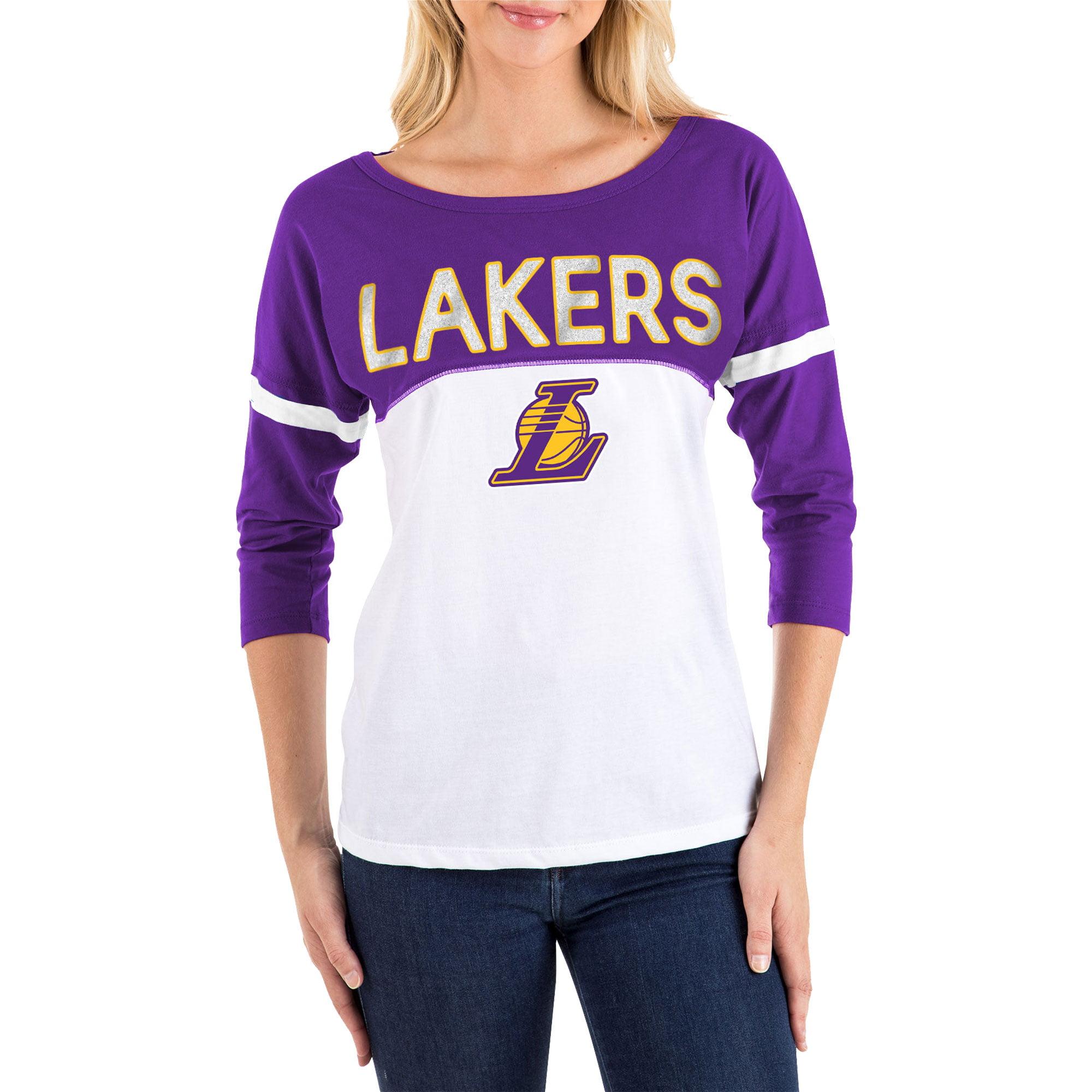 Women's New Era White/Purple Los Angeles Lakers 3/4-Sleeve T-Shirt