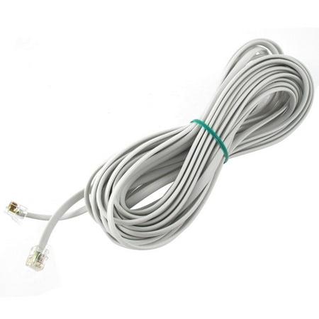 Unique Bargains 33Ft Length 6P6C RJ11 Telephone Extension Fax Modem Cable Line White
