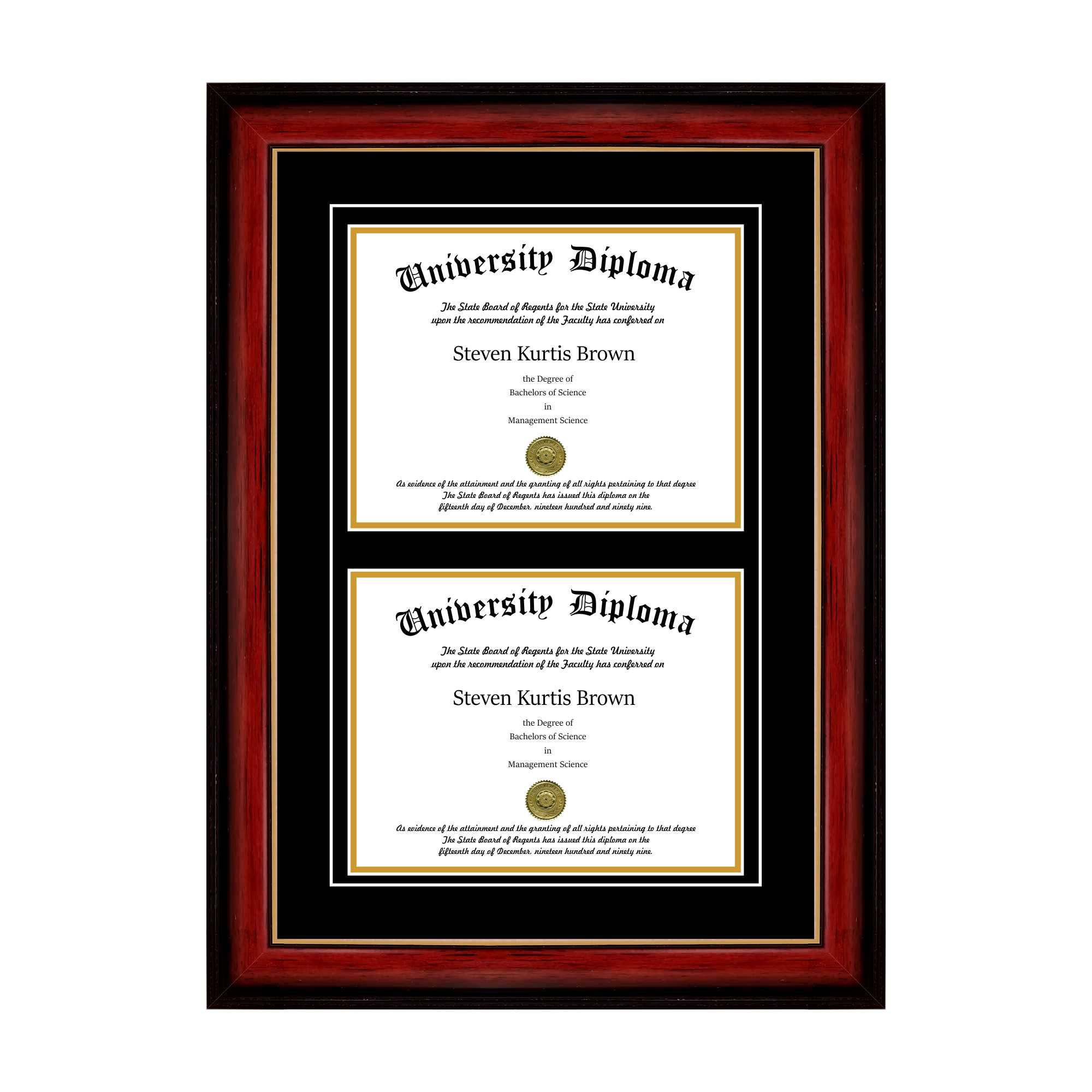 "Double Diploma Frame with Double Matting for 8.5"" x 11"" Tall Diploma with Cherry 1.5"" Frame"