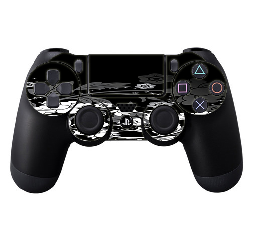 Skins Decals For Ps4 Playstation 4 Controller / Black Floral Pattern