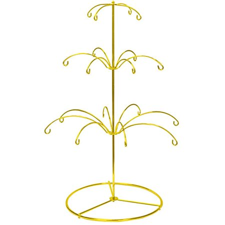 Ornament Display Stand Holds 18 Ornaments - Bright Gold Finish