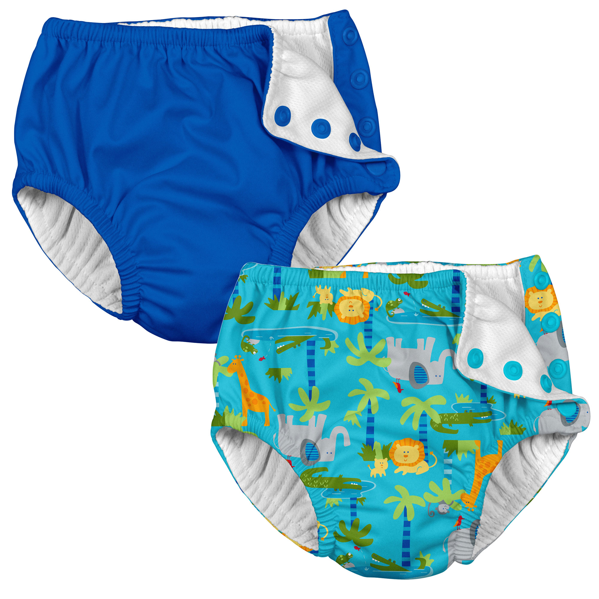 i play Baby and Toddler Snap Reusable Swim Diaper - Royal Blue and Aqua Jungle - 2 Pack