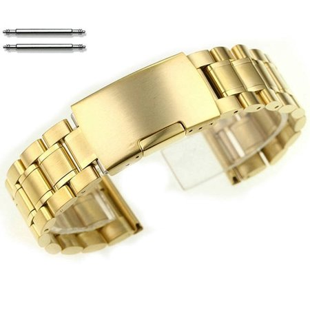 Gold Tone Metal Replacement Watch Band #5017 Fits Invicta Bulova Citizen Fossil Seiko (Invicta Replacement Watch Bands)