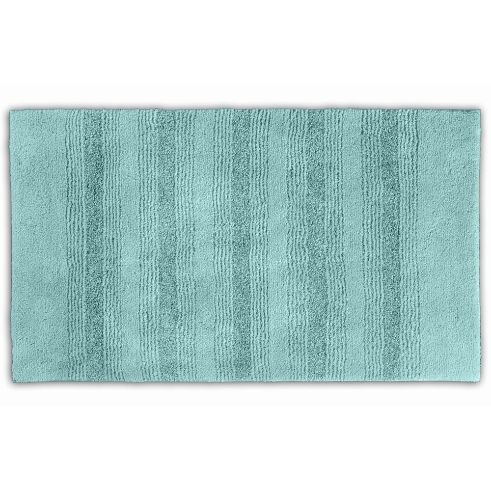 Somette  Westport Stripe Sea Foam Washable 30 x 50 Bath Rug