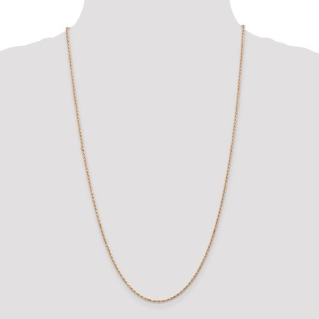 14K Rose Gold 1.8mm Diamond Cut Rope Chain 24 Inch - image 4 of 5