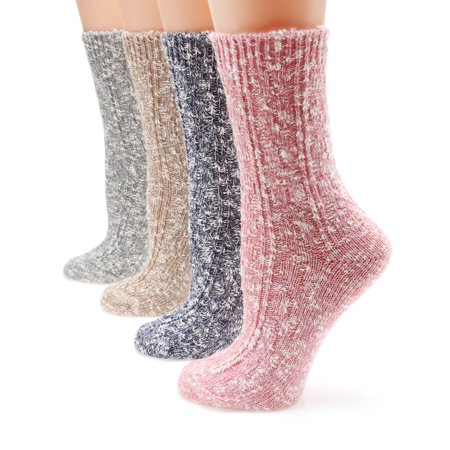 MIRMARU M105 Women's Winter 4 Pairs Wool and cotton Blend Crew Socks Collection (Cotton Wool Socks)
