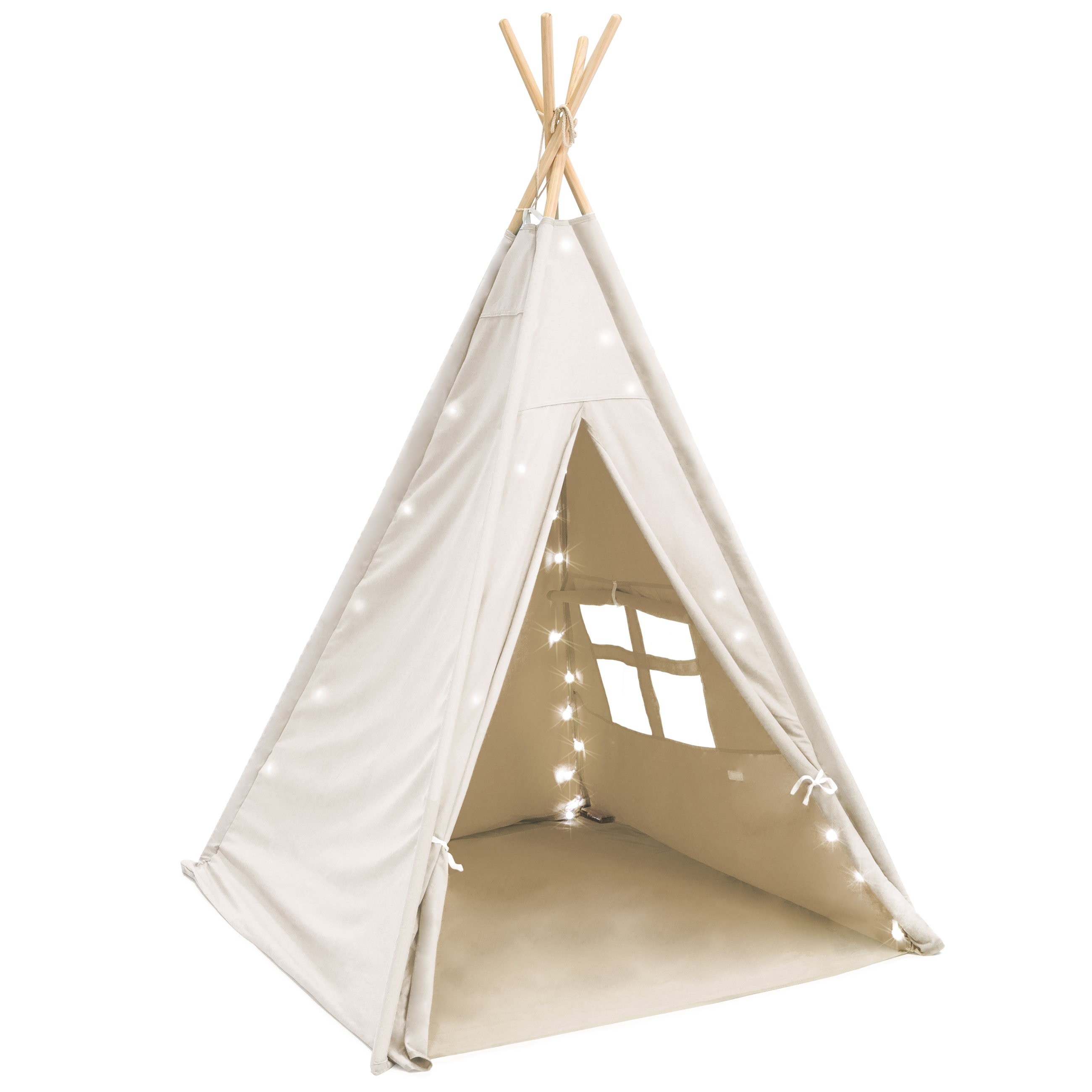 newest df112 a2456 Details about Kids Indian Teepee 6 ft Play Tent Cotton Canvas Playhouse  with LED Lights White