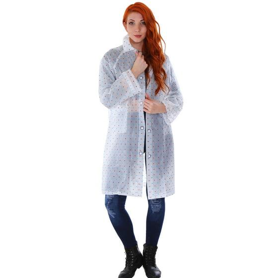 ffc54f97e31 BASILICA - Women Clear Waterproof Hooded Raincoat Lightweight Rain ...