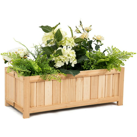 Costway Rectangle Wood Flower Planter Box Portable Raised Vegetable Patio Lawn Garden folding](Wood Planter Boxes)
