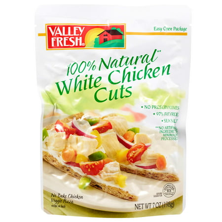 (2 Pack) Valley Fresh 100% Natural White Chicken Cuts Pouch, 7 Ounce 11 Pre Cut Pouch
