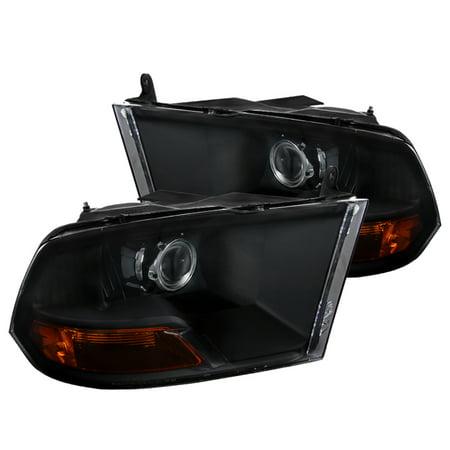 Spec-D Tuning For 2009-2019 Dodge Ram 1500 2010-2018 2500/3500 Black Projector Headlights + Amber Reflector 2009 2010 2011 2012 2013 2014 2015 2016 2017 2018 19(Left +