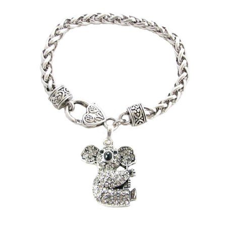 Chicago Bears Rubber Bracelet - Koala Bear Crystal Charm On Silver Plated Fashion Bracelet.