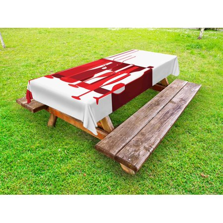 - Wine Outdoor Tablecloth, Artistic Modern Design Party Drink Beverage Product with Abstract Display, Decorative Washable Fabric Picnic Table Cloth, 58 X 84 Inches,Red Burgundy White, by Ambesonne