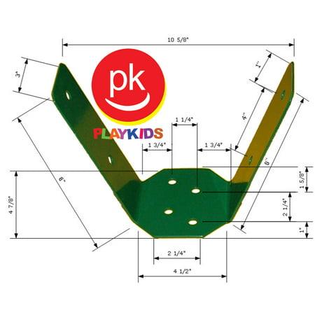 Playkids® A-frame Bracket Heavy Durty Swing Set Play Set Hardware Attachments Playground Hardware Backyard Gungle Gym Park Green Powder Coated