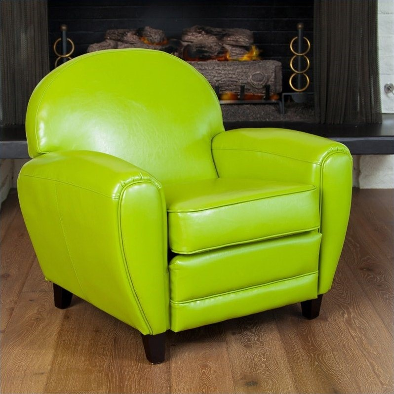 Trent Home Marlin Leather Club Chair in Green by Noble House