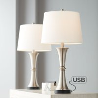 360 Lighting Modern Table Lamps Set of 2 with USB Port LED Touch On Off Silver White Drum Shade for Living Room Bedroom Family