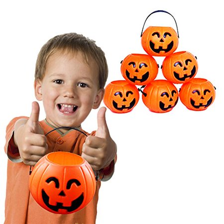 12 Treat Yourself Realistic Pumpkin Sweet Holder Jar with Handles - Candy Goody Halloween Memorable Bag Buckets. - Halloween Candy Food Stamps