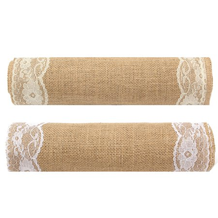 "Hot 110""X12"" Natural Vintage Burlap Lace Jute Hessian Table Runner Wedding Decor"