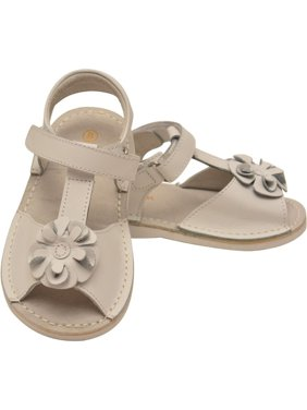 bdd038a2d27 Product Image L Amour Little Girls White Curly Flower Adorned Leather  Sandals
