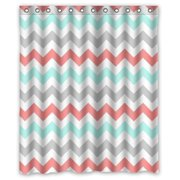 HelloDecor Coral Light Green Gray and White Chevron Zig Zag Pattern Shower Curtain Polyester Fabric Bathroom Decorative Curtain Size 60x72 Inches