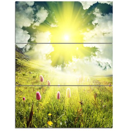 Design Art Mountains Pasture Under Bright Sunset 3 Piece Photographic Print On Wrapped Canvas Set