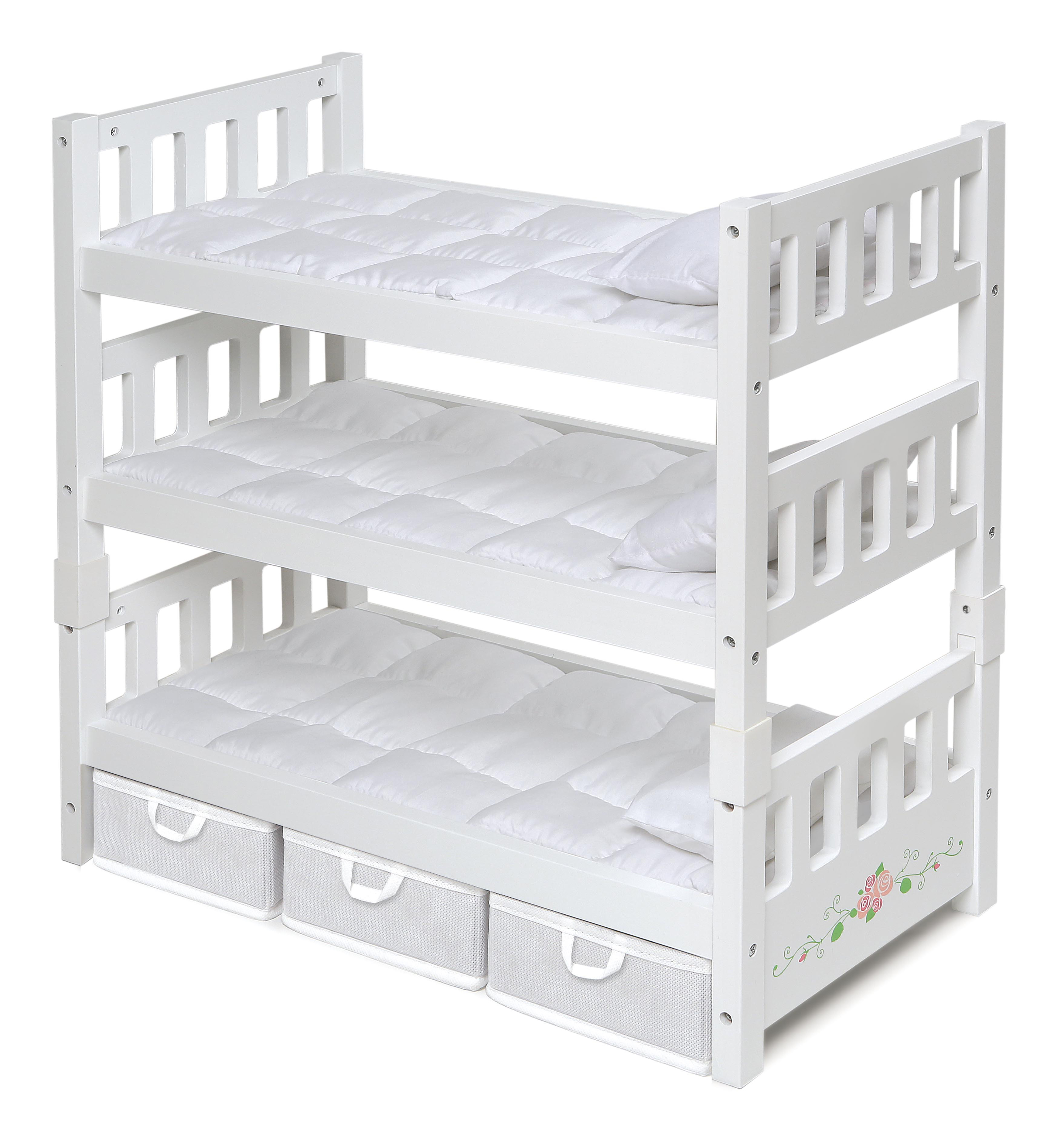 Badger Basket 1-2-3 Convertible Doll Bunk Bed with Bedding and Storage Baskets White Rose... by Badger Basket