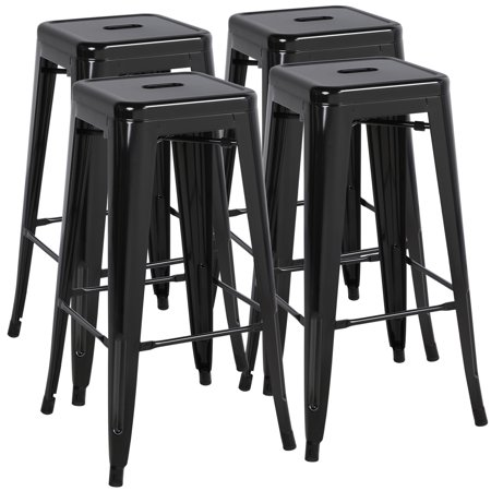 Easyfashion 30'' High Stackable Metal Bar Stools Kitchen Dining Bar Chairs Backless, Set of 4, Counter Stool (Black) ()